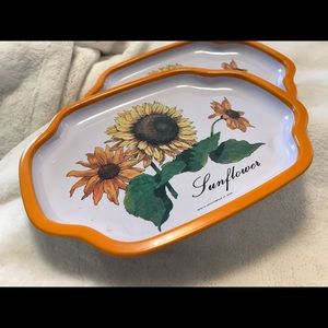Vintage made in Japan Metal Sunflower Trays